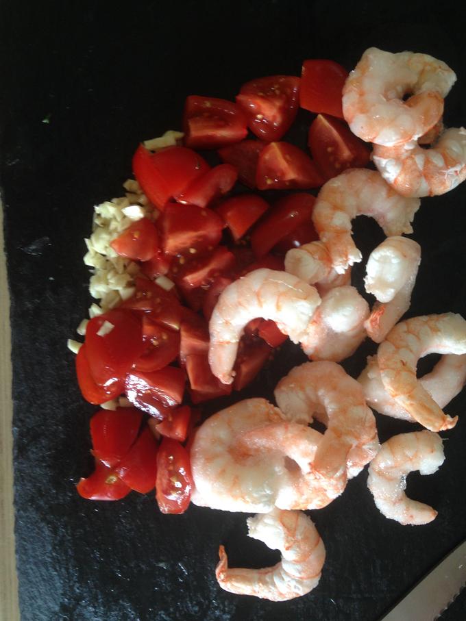 Paprika, Shrimps, Tomaten