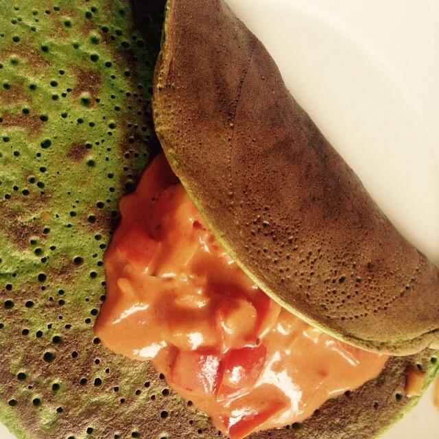 Gefüllte Spinatpfannkuchen